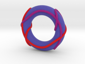 Full Color Linked Trefoils on Torus (Large) in Full Color Sandstone