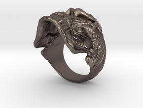 Skulls ring - GR2 in Polished Bronzed Silver Steel