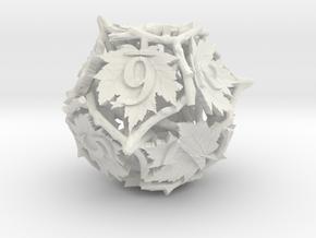 Botanical d12 (Maple) in White Natural Versatile Plastic