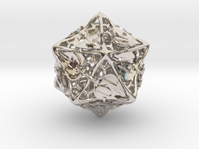 Botanical Die20 (Aspen) in Rhodium Plated Brass