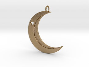 Crescent Moon Pendant with one star in Polished Gold Steel