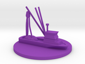 Fishing Boat Game Piece on 40mm disk in Purple Processed Versatile Plastic