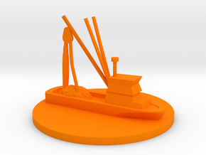 Fishing Boat Game Piece on 40mm disk in Orange Processed Versatile Plastic