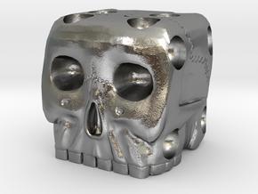 Skull Die 6 Sided Skeleton Bone Dice in Natural Silver