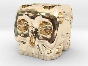 Skull Die 6 Sided Skeleton Bone Dice in 14K Yellow Gold