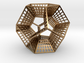 Dodecahedron Ornament in Natural Brass