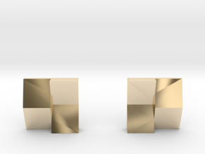 Chequered Earrings in 14K Yellow Gold: Small