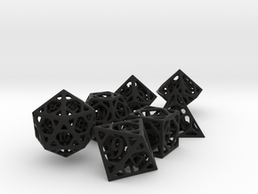 Cage Dice Set with Decader in Black Premium Versatile Plastic