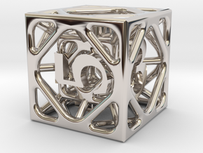 Cage Die6 in Rhodium Plated Brass