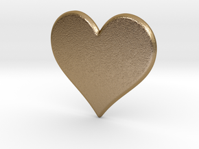 Heart Pendant(心形吊坠) in Polished Gold Steel: Medium