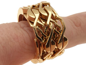 Ring Bracelet - metal in Polished Bronze (Interlocking Parts)