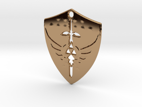 Zelda Triforce Hylian Shield Pendant in Polished Brass