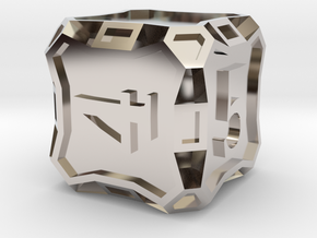 Large d6 - Custom in Rhodium Plated Brass