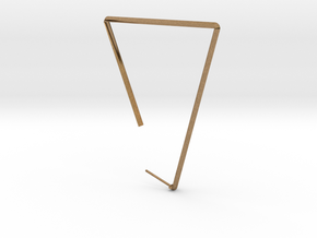 Single Large Triangle Earring  in Natural Brass