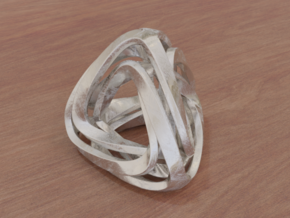 Twisted Tetrahedron in White Natural Versatile Plastic: Small