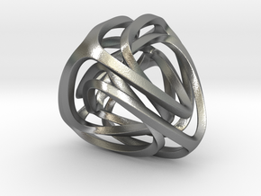 Twisted Tetrahedron (Thin) in Natural Silver: Small