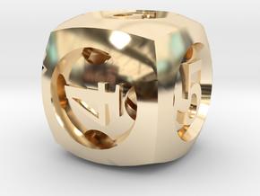 Overstuffed d6 in 14K Yellow Gold