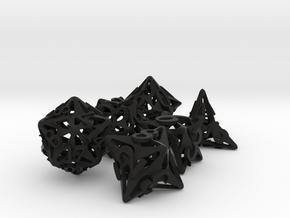 Pinwheel Dice Set in Black Premium Versatile Plastic