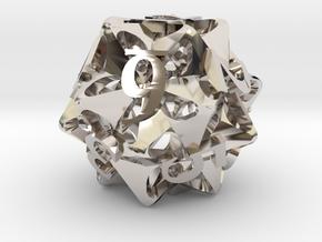 Pinwheel Die12 in Rhodium Plated Brass