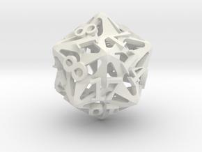 Pinwheel Die20 in White Premium Versatile Plastic