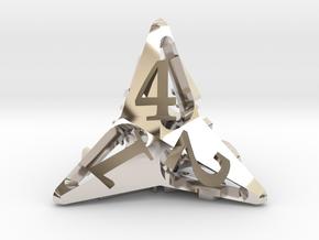 Pinwheel d4 Ornament in Rhodium Plated Brass