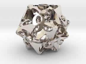 Pinwheel d12 Ornament in Rhodium Plated Brass