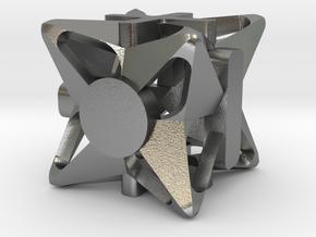 Fudge Pinwheel d6 in Natural Silver