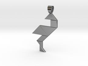 Wading bird tangram [pendant] in Polished Silver