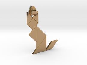 Cat tangram [pendant] in Polished Brass