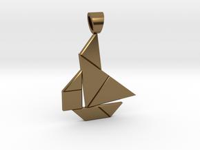 Boat tangram [pendant] in Polished Bronze