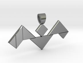 Bat tangram [pendant] in Polished Silver