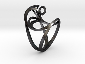 Benthe Ring in Polished and Bronzed Black Steel: 10 / 61.5