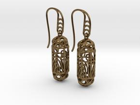 FitzLogo Filigree Earrings in Natural Bronze (Interlocking Parts)