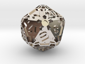 Huge d20 in Rhodium Plated Brass