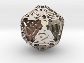 Spindown Huge d20 in Rhodium Plated Brass