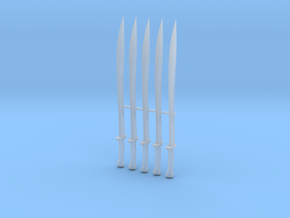Dao Swords x5 in Smooth Fine Detail Plastic