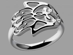 Hamsa Hand Ring in Polished Silver