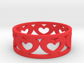Heart Ring 7 1/2 Ring in Red Processed Versatile Plastic