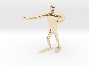 Blind walk statue in 14K Yellow Gold: 6mm