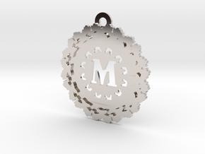 Magic Letter M Pendant in Rhodium Plated Brass