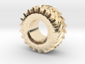 2cm Miniature Trelleborg Tractor Tire in 14K Yellow Gold