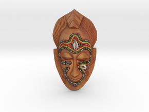 African Mask Necklace in Full Color Sandstone: Medium