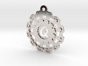 Magic Letter Q Pendant in Rhodium Plated Brass