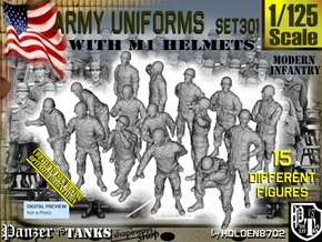 1/125 Modern Uniforms M1 Helmets Set301 in Smooth Fine Detail Plastic