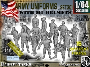 1/64 Modern Uniforms M1 Helmets Set301 in Smooth Fine Detail Plastic