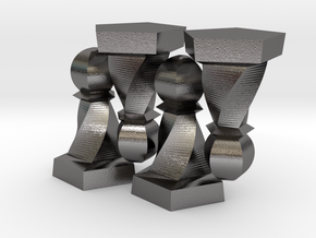 Geometric Chess Set Pawn in Polished Nickel Steel