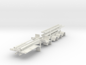 000627 4a Roll on off Trailer HO in White Natural Versatile Plastic: 1:87 - HO