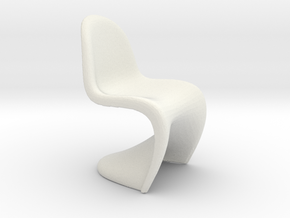 1/24   G Scale Modern Chair Model for Diorama in White Natural Versatile Plastic