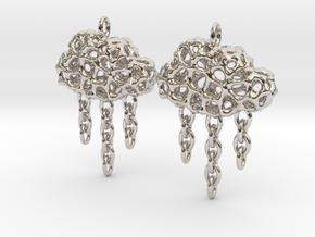 Rainy Earrings in Rhodium Plated Brass