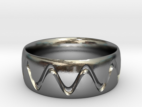 Sine Wave Ring in Polished Silver: 6 / 51.5